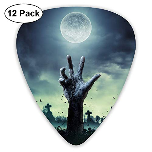 Anticso Custom Guitar Picks, Halloween Zombie Hand Rising Out of A Graveyard Guitar Pick,Jewelry Gift For Guitar Lover,12 -