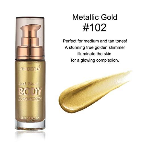 ❤️Jonerytime❤️PHOERA Body luminizer Makeup Cream Face Body Shimmer Make Up Liquid Brighten (B)