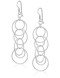 """Sterling Silver Circle Link Drop Earrings, 2.16"""""""