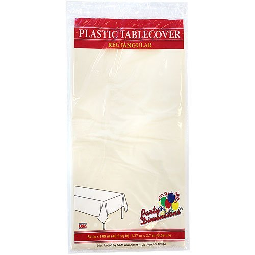 Plastic Party Tablecloths - Disposable, Rectangular Tablecovers - 4 Pack - Ivory - By Party Dimensions ()