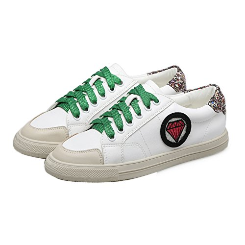de de cordones Zapatillas antideslizantes con mujer microfibra running para verdes 1TO9 SqwwdB