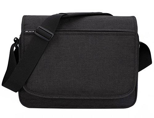 MIER Unisex Laptop Messenger Bag For 15.6'' Computer Shoulder Crossbody Bag for Work and School, Multiple Pocket, Update Black by MIER
