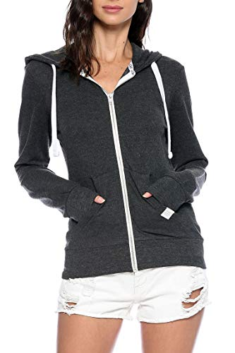 Urban Look Womens Basic Lightweight Stretch French Terry Zip up Hoodie (Medium, A Charcoal)