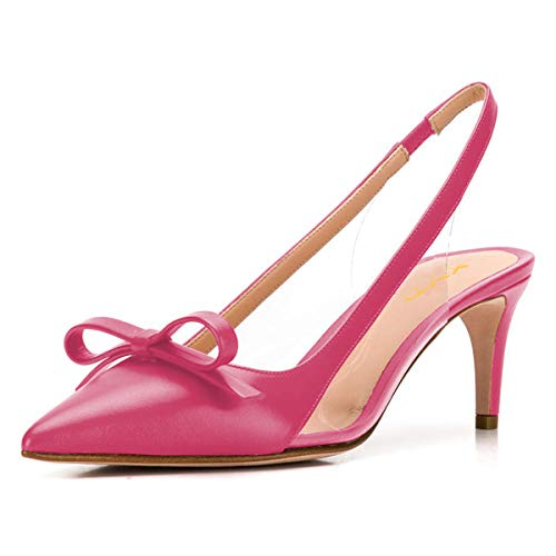 XYD Women Cute Bows Slingback Sandals Pointed Toe Mid Heel Slip On Transparent PVC Wedding Party Dress Pumps Size 15 Fuchsia