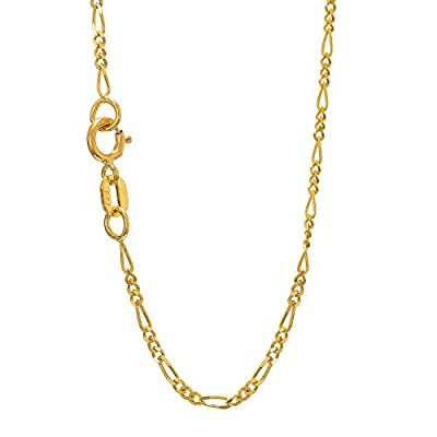 "JewelStop 14k Solid Yellow Gold 1.3 mm Figaro Chain Anklet, Spring Ring Clasp - 10"" from JewelStop"