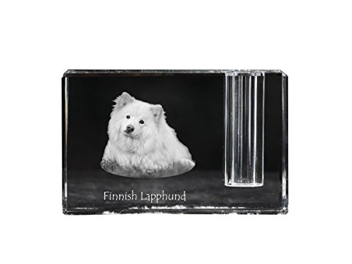 Finnish Lapphund, crystal pen holder with dog, souvenir, desk accessory, limited - Finnish Glasses