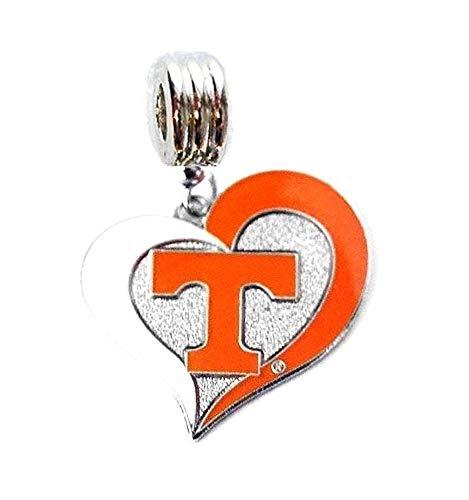 UT University of Tennessee Vols Volunteers Heart Charm Slider Pendant ADD to Your Necklace European Bracelet DIY Projects ETC - Enamel Tennessee Volunteers Charm