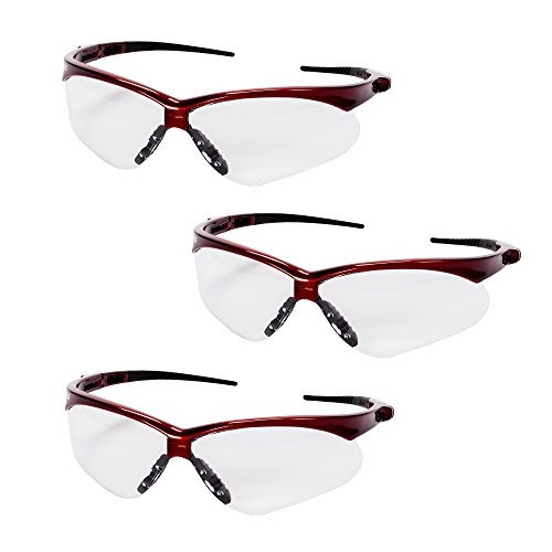 Jackson Safety V30 47378 Nemesis Safety Glasses (3 Pair) (Inferno Red Frame with Clear Anti-Fog Lens)