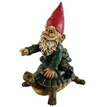 Michael Carr Designs 80036 Garrold Gnome on Turtle Outdoor Statue