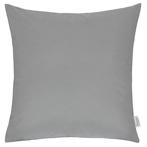 Homey Cozy Outdoor Throw Pillow Cover, Classic Solid Light Gray Large Pillow Cushion Water/UV Fade/Stain-Resistance For Patio Lawn Couch Sofa Lounge 20x20, Cover Only