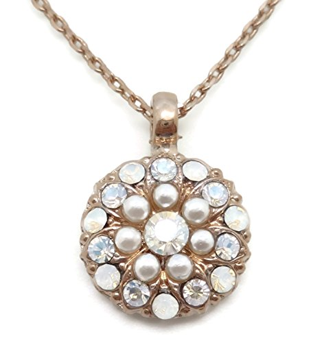 (Mariana Bermuda Swarovski Rose Goldtone Guardian Angel Necklace White Simulated Pearl Mix 2340)