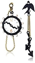 "Betsey Johnson ""Wonderland"" Clock and Bird Mismatch Front and Back Drop Earrings"