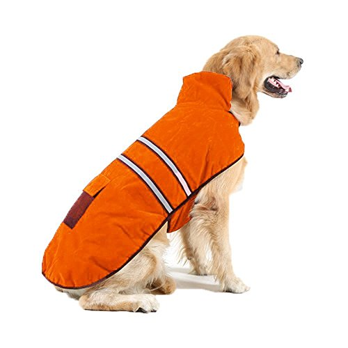 OHF Dog Reflective Anxiety Jacket Double Warm Cotton Clothes for Autumn Winter Soft Classic Casual Fleece-Lined Pet Coat(S, Orange)