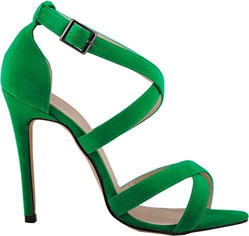 Strap à Pretty talons RB bout mode Bureau sandales élégantes à Boucle 1A YSE relaxant vert cheville Street 102 Respirant Stiletto Léger ouvert à Femmes CFP ajustable la la hauts Vogue X qx8apfw