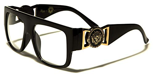 Kleo Flat Top Aviator RX Glasses Gold Buckle Hip, Black, Size one Size fits Most