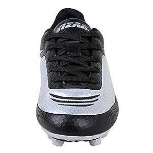 Vizari Youth/Jr Infinity FG Soccer Cleats | Soccer Cleats Boys | Kids Soccer Cleats | Outoor Soccer Shoes | Black/Silver 8