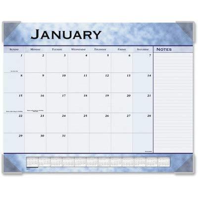 Blue Calendar Desk Pad Slate - Monthly Desk Pad Planner, 22 x 17, Textured Slate Blue (AAG89701) Category: Desk Calendar Pads and Refills