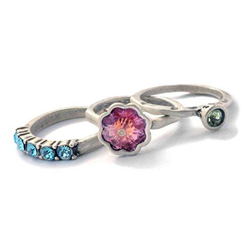 (Sweet Romance Vintage Flower Swarovski Crystal Inspirational Wanderlust Boho Stack Rings - Set of 3 Stacking Rings (E - Adventure - Size 9))
