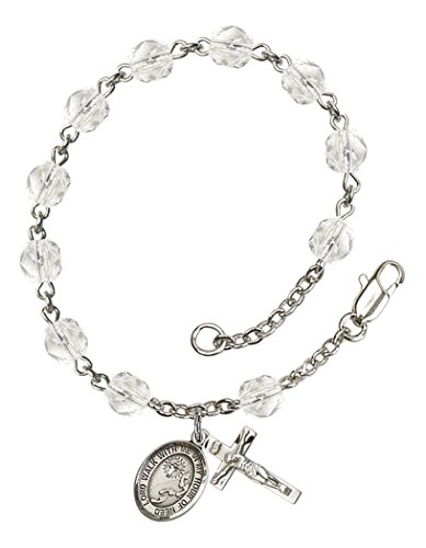 April Birth Month Bead Rosary Bracelet with Footprints and Cross Petite Charm, 7 1/2 Inch