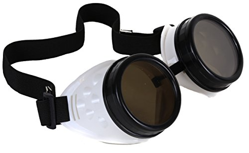 Black White Goggles Sunglasses Cosplay Aviator Steampunk Gothic Burning Man (WHITE BODY)