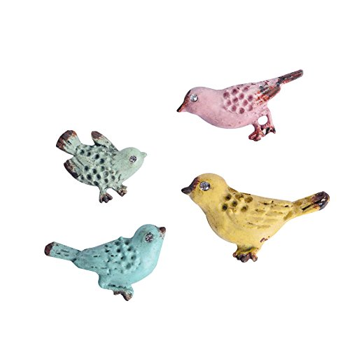 NIKKY HOME Shabby Chic Pewter Birds Refrigerator Magnets Set of 4 Pink, Blue, Green, Yellow