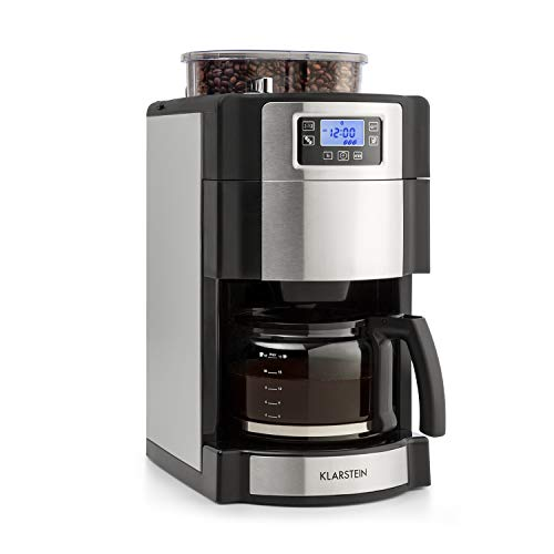 Klarstein Aromatica Nuovo Glass • Coffee Machine • Built-in Activated Carbon Filter • Five-stage Grinder • Drip Protection • Three Aroma Levels: Light, Medium, Strong • 24-hour Timer • 10 Cups • Permanent Filter • Silver