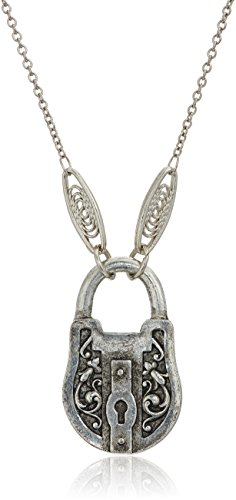 1928 Jewelry Antiqued Pewter Tone Lock Charm Pendant Necklace, 30