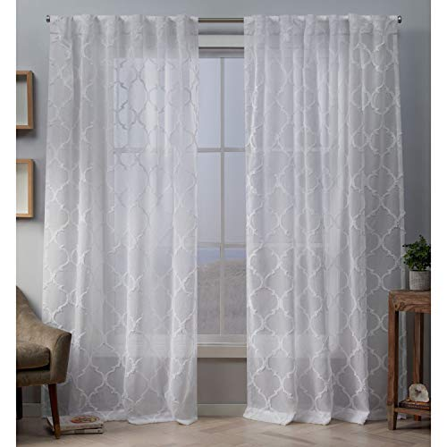 Exclusive Home Curtains Aberdeen Panel Pair, 54x96, White