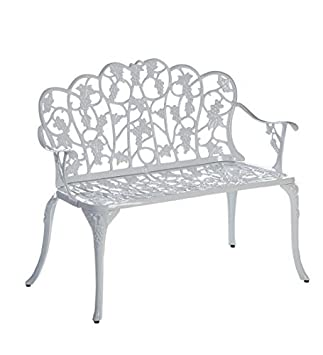 Plow U0026 Hearth 34526 WH Grapevine Outdoor Garden Bench, White Part 64