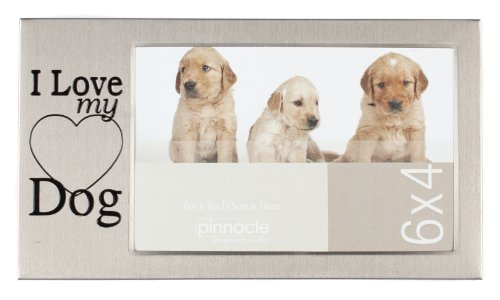 Pinnacle Frames Pewter I Love My Dog Desk Frame, 6 inch by 4 inch by Pinnacle Frames and Accents