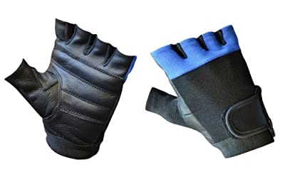 Mens Leather Multi-Purpose Biker Motorcycle Cycling Weightlifting Gym Workout Fitness Fingerless Gloves lll-1006