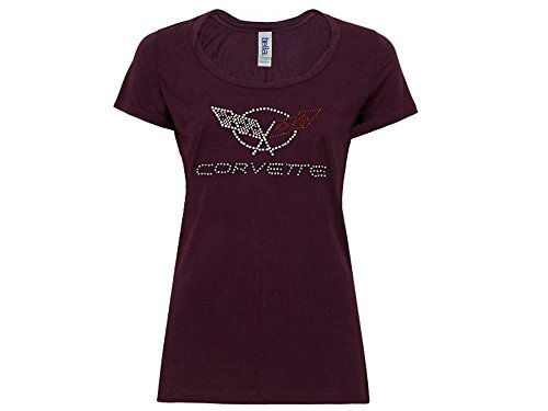 Corvette C5 Juniors T-Shirt with Rhinestones Plum Small
