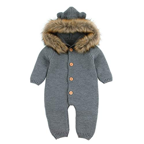 Winter Knitted Thicken Romper,G-Real Newborn Infant Baby Boy Girl Jumpsuit Snowsuit Warm Fleece Hoodie Outfits Gray