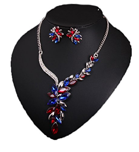 - Grenf Fashion Prom Wedding Bridal Jewelry Sets Exotic Multi-Colored Enamel Butterfly Flower Necklace with Stud Earring 4 Colors (Multicolour Colored Gems - Silver )
