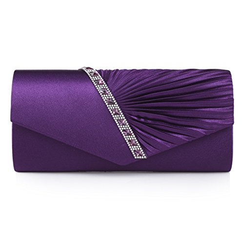Damara Womens Pleated Crystal-Studded Satin Handbag Evening Clutch,Purple, large