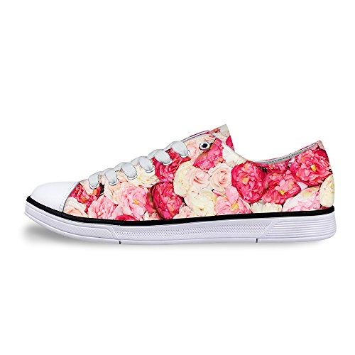 För U Designar Snygga Kvinna Avslappnad Snörning Låg Bästa Komfort Duk Mode Sneaker Rosa C