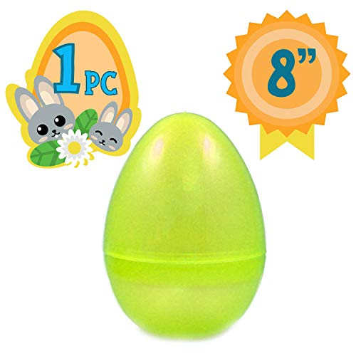 (Totem World Jumbo Fillable Plastic Easter Egg Hunt Party Supply - 8-Inch Transparent Yellow Glitter Color Plastic)