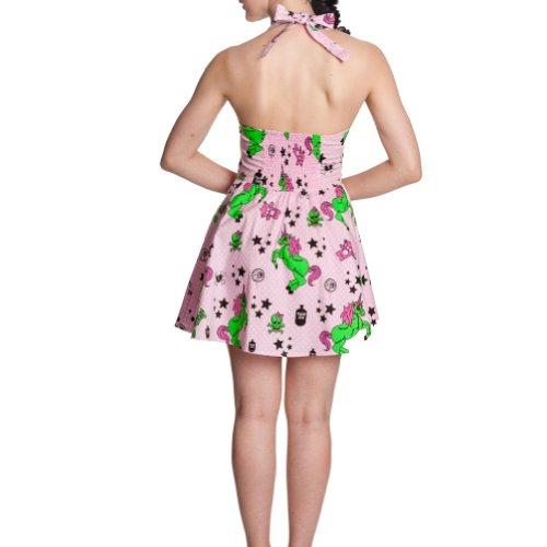Hell Bunny Rockabilly Mini Neckholder Kleid mit Einhörnern und Skulls pink 50ziger Jahre Kleid - L
