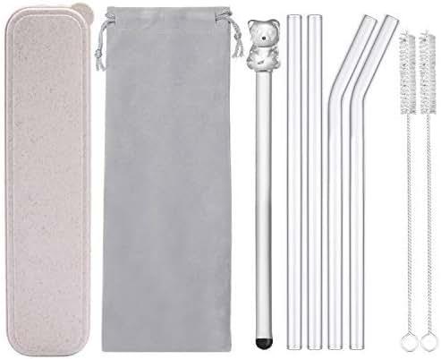 Reusable Glass Drinking Straws, Healthy Smoothie Straws, Teeth Friendly - BPA Free, 9