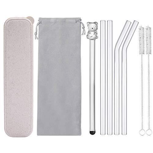 (Reusable Glass Drinking Straws, Healthy Smoothie Straws, Teeth Friendly - BPA Free, 9
