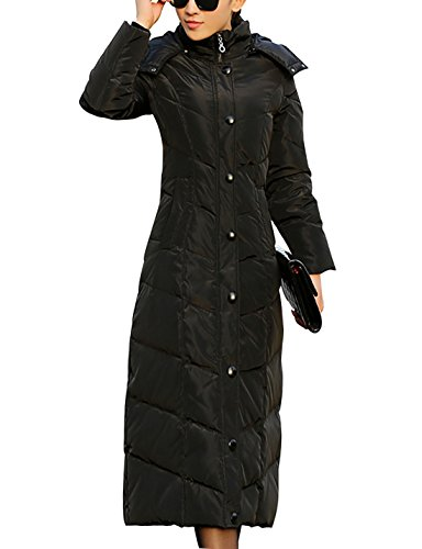lim Quilted Down Puffer Coat Thicker Down Hooded Parkas (Black, Large) ()