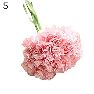 hwangli Mother's Day Gift Artificial Carnations Flowers Home Decor | 6 Branches/Bouquet Light Pink 62