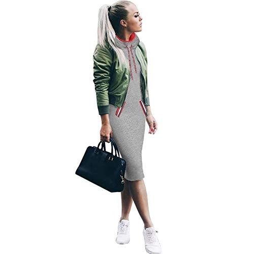 FIRSS Damen Streifen Mit Kapuze Pullover Kleid Slim Fit Langarm Minikleid T-Shirt Cocktailkleid Einfarbig Partykleid Knielang Hoodie Abendkleider