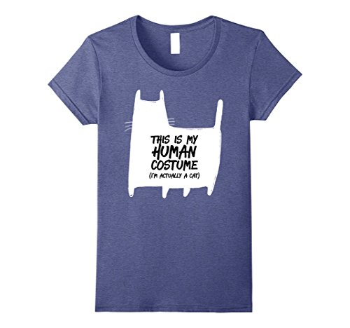 Womens Funny Halloween Cat This Is My Human Costume T-Shirt Small Heather Blue