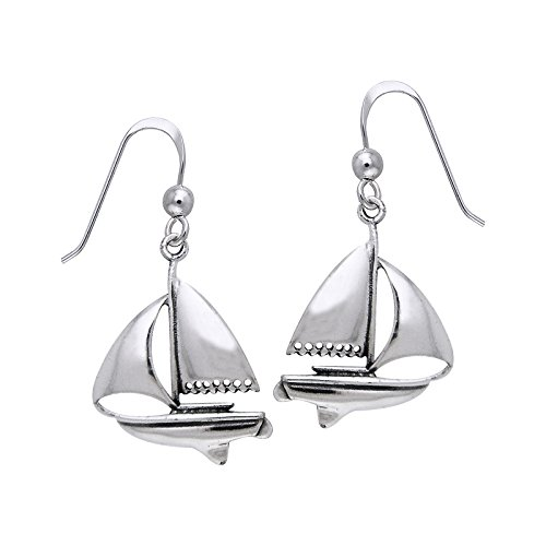 Full Sails - Nautical Ocean Sailboat Nickel Free Sterling Silver Hook Earrings