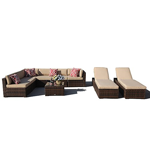 Super Patio 9 Piece Outdoor Furniture Sectional Sofa Set, All Weather PE Brown Wicker Set Sofas with Glass Coffee Table and Lounge Chair, Steel Frame, Beige Cushions For Sale
