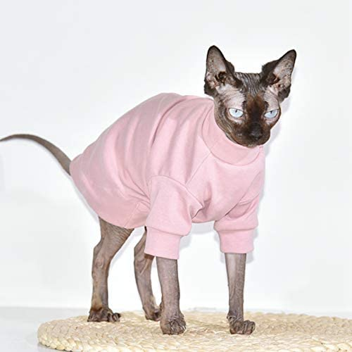 Sphynx Hairless Cat Cotton Tshirts Pet Clothes, Pullover Kitten T-Shirts with Sleeves, Cats & Small Dogs Apparel Solid Color 22