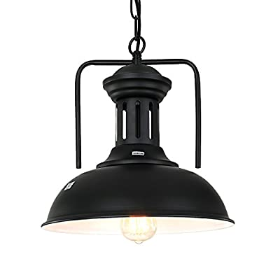 PAUWER Pendant Light Industrial Metal Barn Pendant Light with Dome/Bowl Shade Nautical Pendant light with Adjustable Chain