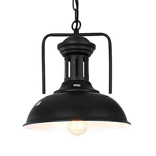 (PAUWER Pendant Light Industrial Metal Barn Pendant Light with Dome/Bowl Shade Nautical Pendant light with Adjustable Chain )