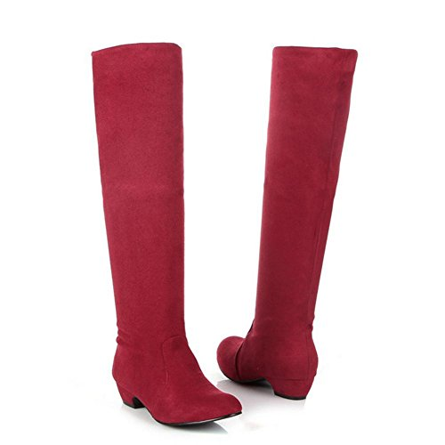 H H Quatre Saisons Femmes (red.brown.black) Talon Bas Enveloppé Genou Longues Bottes En Caoutchouc Extensible Tissu Résistant En Daim À Porter Fond Antidérapant, Rouge, 38